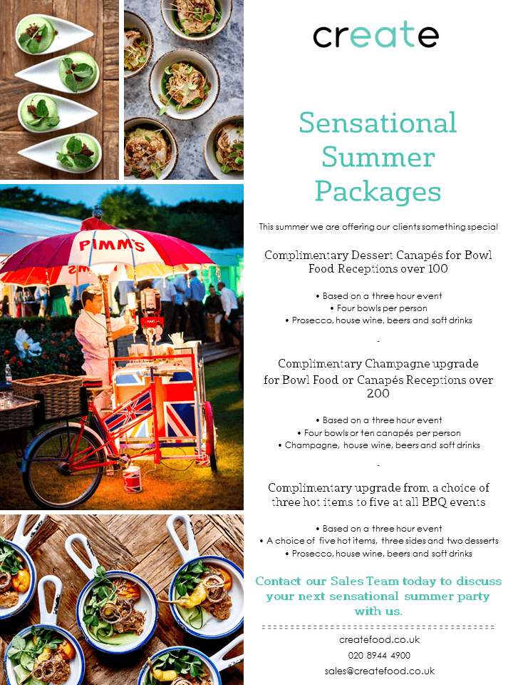 Sensational Summer Packages from Create | Bespoke Events
